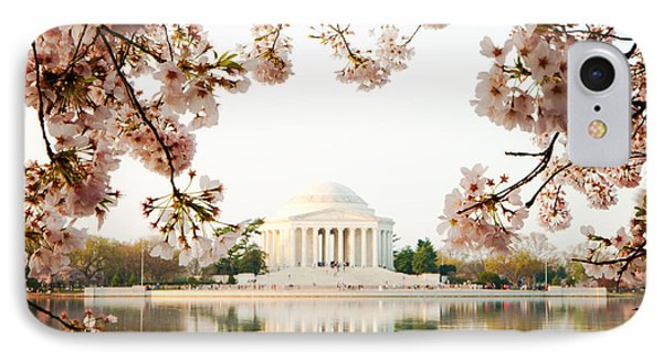 Jefferson Memorial iPhone 7 Case - Jefferson Memorial With Reflection And Cherry Blossoms by Susan Schmitz