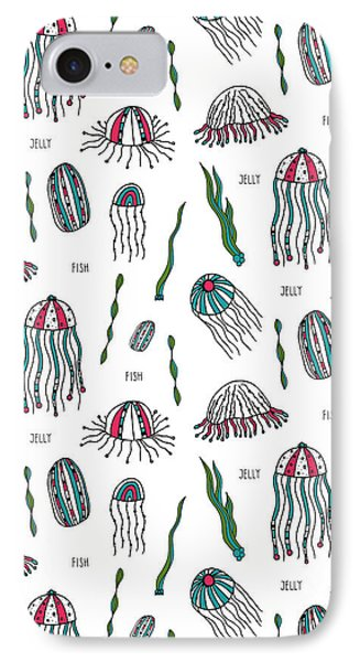 Jellyfish Repeat Print IPhone Case by Susan Claire