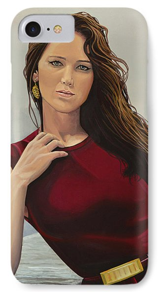 Jennifer Lawrence Painting IPhone Case by Paul Meijering