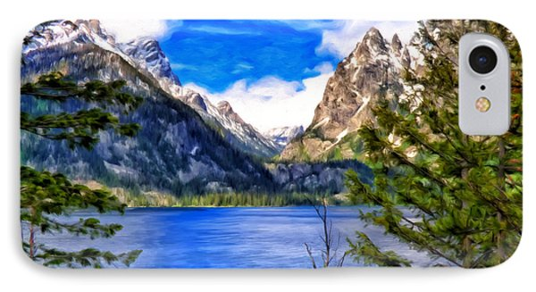 IPhone Case featuring the painting Jenny Lake by Michael Pickett