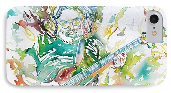 Jerry Garcia Playing The Guitar Watercolor Portrait.1 IPhone Case by Fabrizio Cassetta