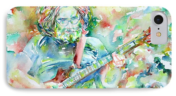 Jerry Garcia Playing The Guitar Watercolor Portrait.3 IPhone Case by Fabrizio Cassetta