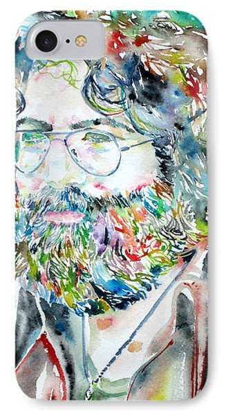Jerry Garcia Watercolor Portrait.2 IPhone Case by Fabrizio Cassetta