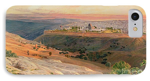 Jerusalem From The Mount Of Olives Phone Case by Edward Lear