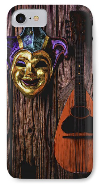 Jester Mask And Mandolin IPhone Case by Garry Gay