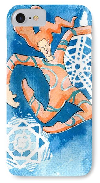 Jester With Snowflakes Phone Case by Genevieve Esson