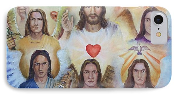 IPhone Case featuring the painting Jesus And Angels Cm by Rose Wang