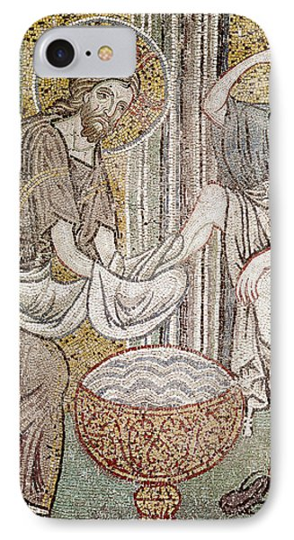 Jesus And Saint Peter, Detail From Jesus Washing The Feet Of The Apostle Mosaic IPhone Case by Byzantine School