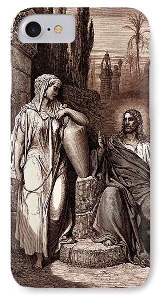 Jesus And The Woman Of Samaria IPhone Case by Litz Collection