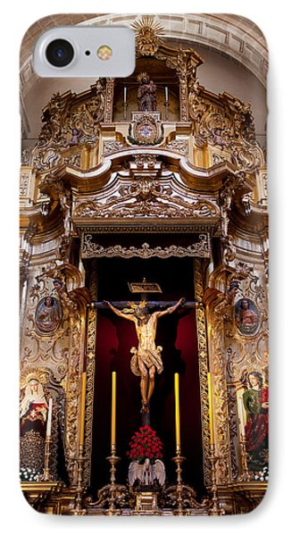 Jesus Christ On The Cross Reredos In Seville Cathedral Phone Case by Artur Bogacki