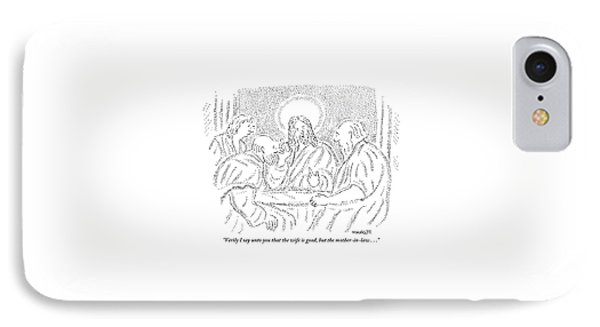 Jesus Discusses With Three Disciples At A Table IPhone Case