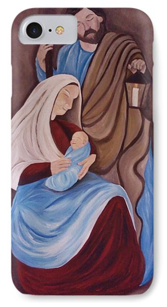IPhone Case featuring the painting Jesus Joseph And Mary by Christy Saunders Church