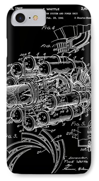 Jet Engine Patent 1941 - Black IPhone Case by Stephen Younts