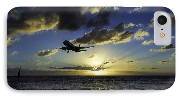jetBlue landing at St. Maarten IPhone Case by David Gleeson