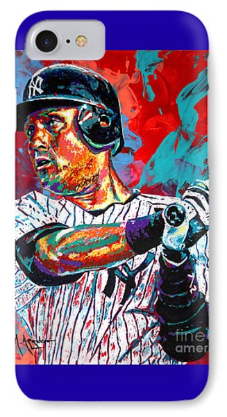 Jeter At Bat IPhone 7 Case by Maria Arango