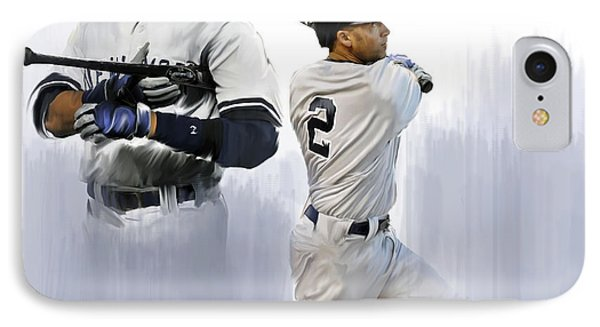 Jeter V Derek Jeter IPhone Case by Iconic Images Art Gallery David Pucciarelli