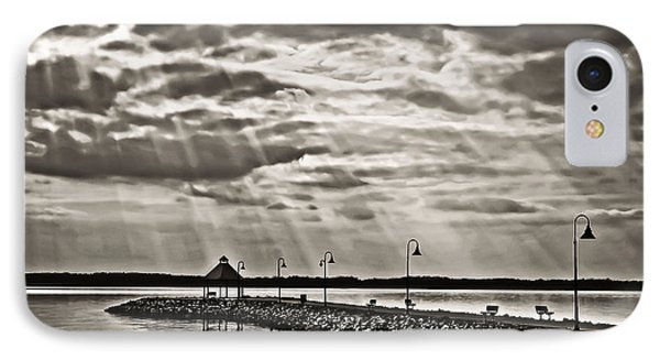 Jetty And Sunrays In Bw Phone Case by Greg Jackson