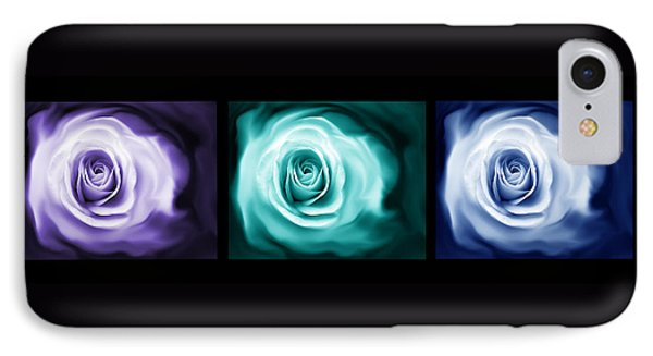 Jewel Tone Abstract Roses Triptych Phone Case by Jennie Marie Schell