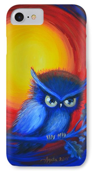 Jewel-tone Vortex With Owl IPhone Case by Agata Lindquist