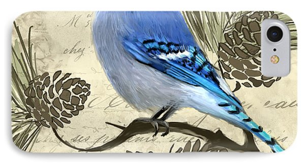 Bluejay iPhone 7 Case - Jeweled Blue by Lourry Legarde