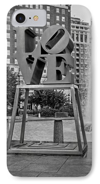 Jfk Plaza Love Park Bw  IPhone Case by Susan Candelario