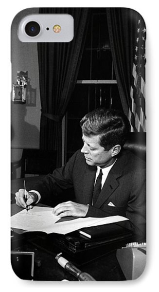 Jfk Signing The Cuba Quarantine IPhone Case by War Is Hell Store