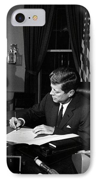 Jfk Signing The Cuba Quarantine IPhone Case