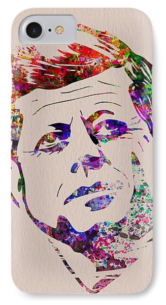 Jfk Watercolor IPhone Case by Naxart Studio