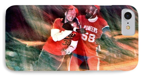 IPhone Case featuring the photograph Jim Fitzpatrick Vs Charles Gipson Battling In Old School Roller Derby With The Sf Bay Bombers by Jim Fitzpatrick