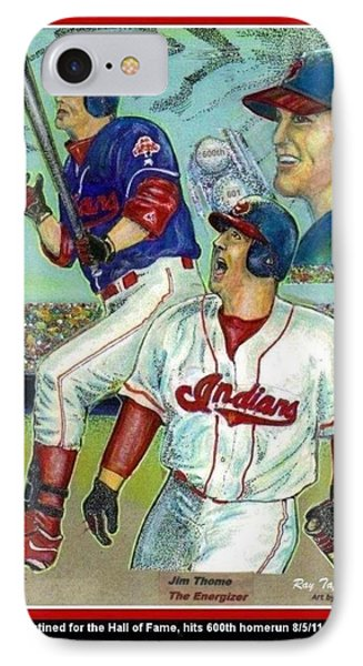 Jim Thome Cleveland Indians IPhone Case by Ray Tapajna