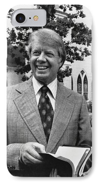 Jimmy Carter Holding His Bible IPhone Case by Underwood Archives