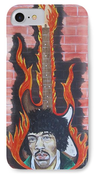 Jimmy Hendrix And Guitar IPhone Case