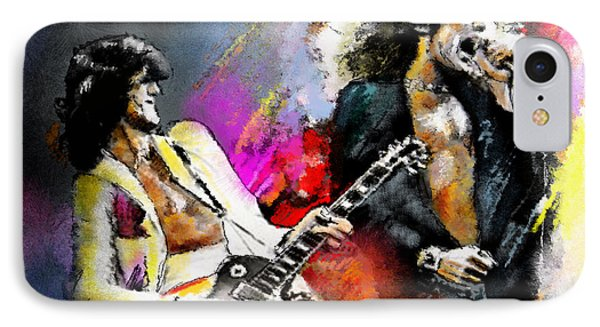 Jimmy Page iPhone 7 Case - Jimmy Page And Robert Plant Led Zeppelin by Miki De Goodaboom