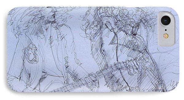 Jimmy Page And Robert Plant Live Concert-pen Portrait Phone Case by Fabrizio Cassetta