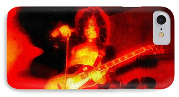 Jimmy Page On Fire IPhone Case by Dan Sproul