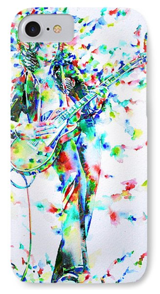 Jimmy Page Playing The Guitar - Watercolor Portrait IPhone Case by Fabrizio Cassetta