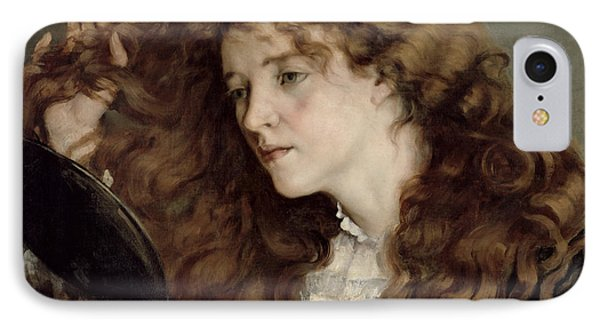 Jo The Beautiful Irish Girl IPhone Case by Gustave Courbet