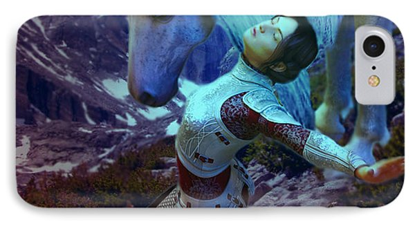 IPhone Case featuring the painting Joan Of Arc  Blue Visions by Suzanne Silvir