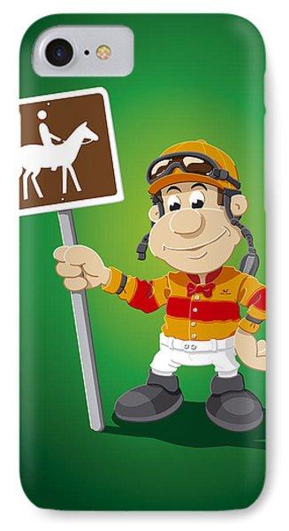 Jockey Cartoon Man Horse Trail Sign IPhone Case