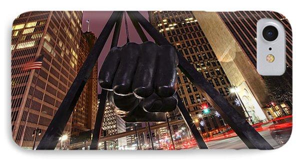 Joe Louis Fist Statue Detroit Michigan Night Time Shot IPhone Case by Gordon Dean II