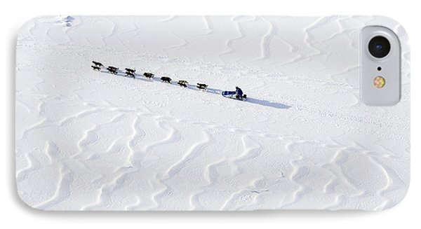 John Bakers Team Running Down Frozen Yukon River  IPhone 7 Case by Jeff Schultz
