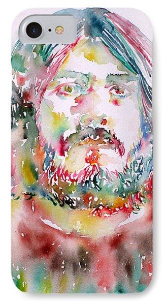 John Bonham Watercolor Portrait Phone Case by Fabrizio Cassetta