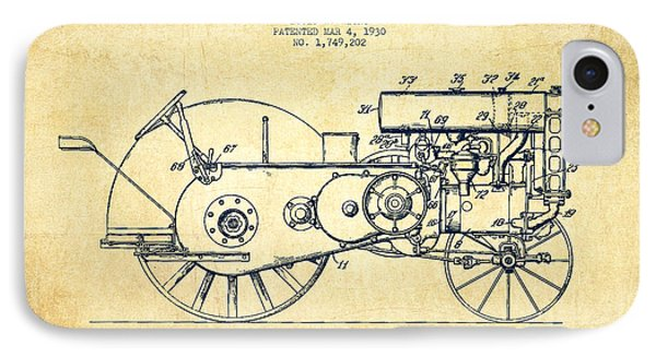 John Deer Tractor Patent Drawing From 1930 - Vintage IPhone Case
