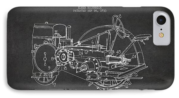 John Deer Tractor Patent Drawing From 1933 IPhone Case by Aged Pixel