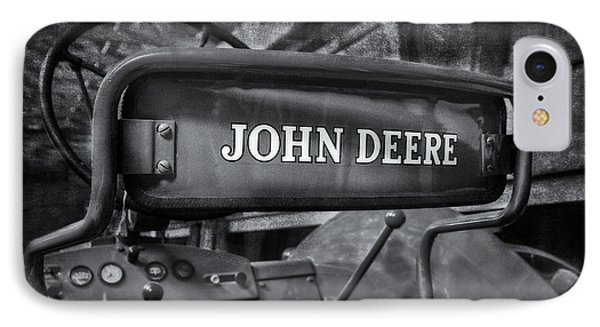 John Deere Tractor Bw IPhone Case by Susan Candelario
