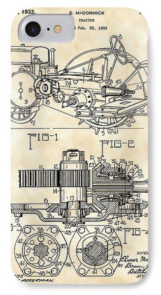 John Deere Tractor Patent 1932 - Vintage IPhone Case by Stephen Younts