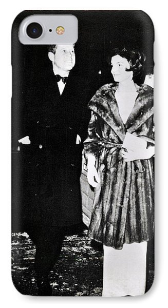 John F Kennedy And Jacqueline Attending First Dinner IPhone Case by Audreen Gieger-Hawkins