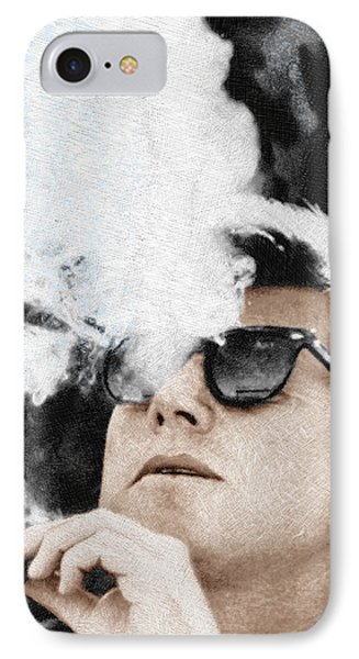 John F Kennedy Cigar And Sunglasses IPhone Case by Tony Rubino