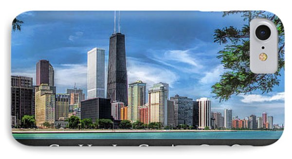 John Hancock Chicago Skyline Panorama Poster IPhone Case by Christopher Arndt