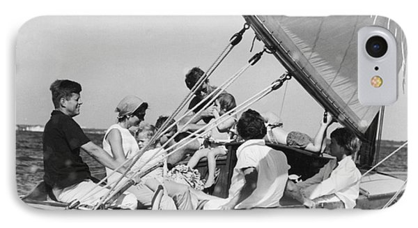 John Kennedy With Robert And Jacqueline Sailing IPhone Case by The Harrington Collection